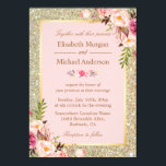 """Gold Glitters Blush Pink Floral Wedding Invitation<br><div class=""""desc"""">================= ABOUT THIS DESIGN ================= Modern Gold Glitters Blush Pink Floral Wedding Invitation Card. (1) For further customization, please click the &quot;Customize&quot; button and use our design tool to modify this template. All text style, colors, sizes can be modified to fit your needs. (2) If you prefer thicker papers, you...</div>"""