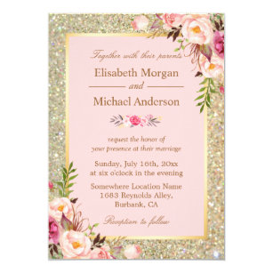 Gold wedding invitations zazzle gold glitters blush pink floral wedding invitation junglespirit Images