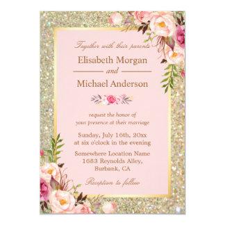 Gold Glitters Blush Pink Floral Wedding Invitation