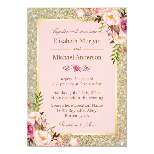 gold glitters blush pink floral wedding invitation zazzle com