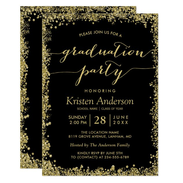 Gold Glitters Border Typography Graduation Party Card
