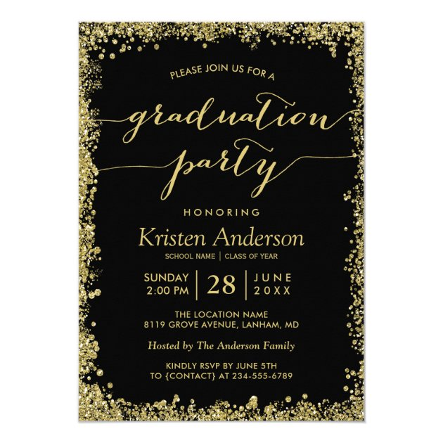Gold Glitters Border Typography Graduation Party Card (back side)