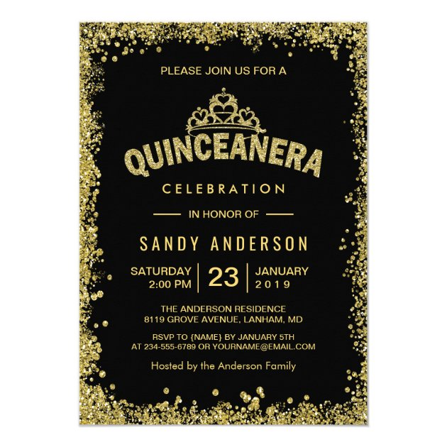 Gold Glitters Crown Quinceanera 15th Birthday Card