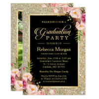 Gold Glitters Floral 2017 Photo Graduation Party Card