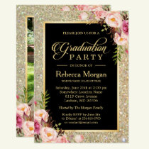Gold Glitters Floral 2018 Photo Graduation Party Invitation