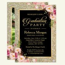 Gold Glitters Floral 2019 Photo Graduation Party Invitation