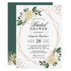 Gold Glitters Greenery Floral Bridal Shower Brunch Card