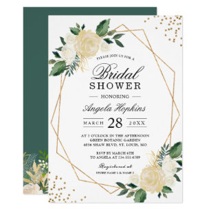gold glitters greenery floral bridal shower brunch invitation
