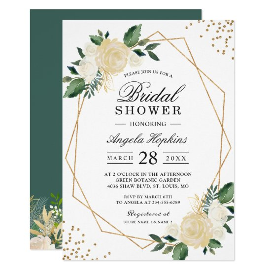 22009e6083d2 Gold Glitters Greenery Floral Bridal Shower Brunch Invitation