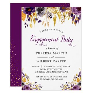 Gold Glitters Purple Chic Floral Engagement Party Invitation