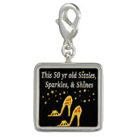 GOLD GLITTERY 50TH BIRTHDAY SHOE QUEEN CHARM