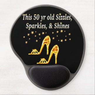 GOLD GLITTERY 50TH BIRTHDAY SHOE QUEEN GEL MOUSE PAD