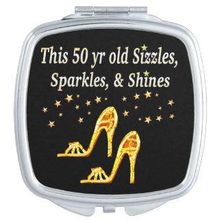 GOLD GLITTERY 50TH BIRTHDAY SHOE QUEEN VANITY MIRROR