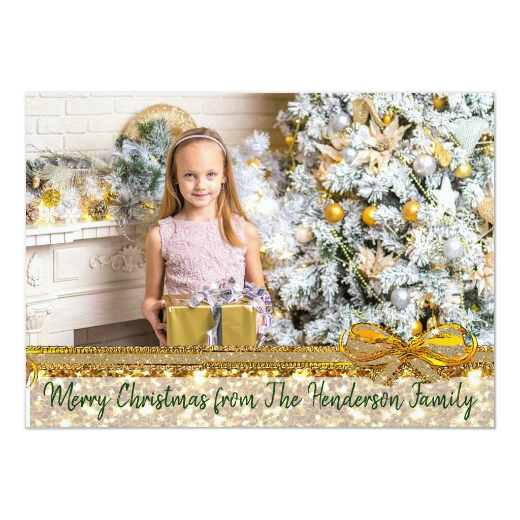 Gold Glittery and Green Custom Family Christmas Card