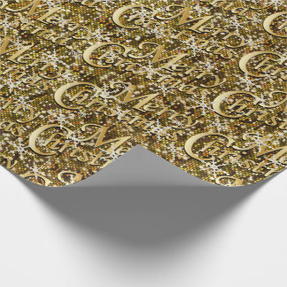 Gold Glittery Confetti Merry Christmas Wrapping Paper