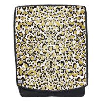 Gold Glittery Leopard Animal Print Backpack