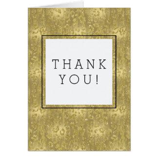 Gold Glittery Leopard Print Thank You Card