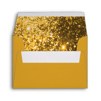Gold Glittery Lined Inside Envelope