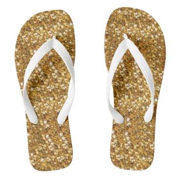 Beach Themed Gold Glittery Look Comfortable Flip Flops