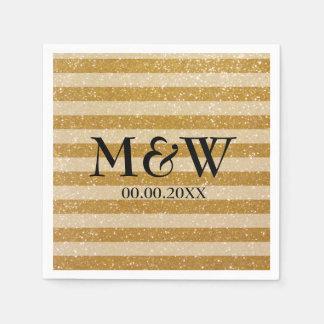 Gold glittery striped monogram wedding napkins