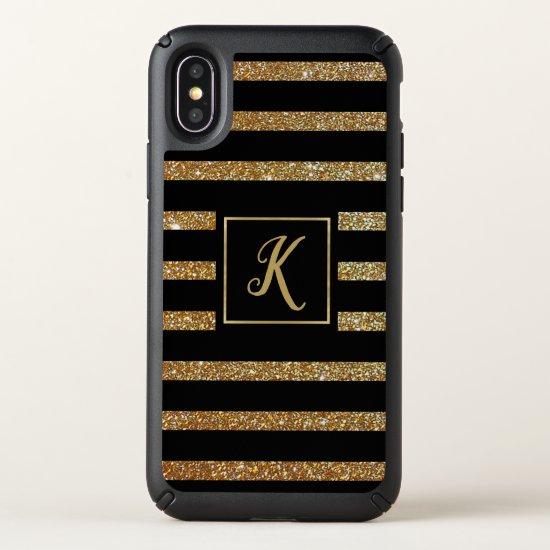 Gold Glittery Stripes iPhone X Case