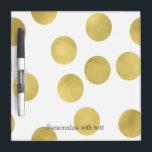 "Gold Glitz Dots Dry Erase Board<br><div class=""desc"">Gold glitzy dots and your personalized text</div>"