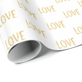 Gold Glitz Love Wrapping Paper