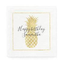 Gold Glitzy Pineapple Birthday Paper Napkin