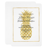 Gold Glitzy Pineapple Wedding Invites