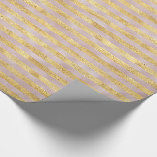 Gold Glitzy Pink Stripes Wrapping Paper