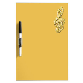 Gold Glitzy Sparkly Music Notes Dry Erase Board
