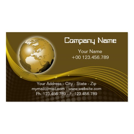 Gold Globe Business Card