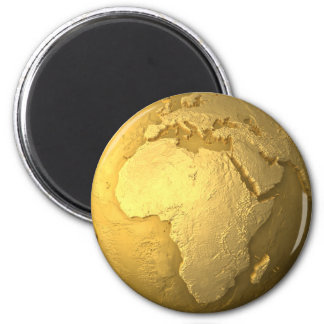 Gold Globe - Metal Earth, Africa, 3d Render 2 Inch Round Magnet