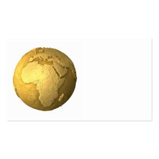 Gold Globe - Metal Earth, Africa, 3d Render Business Card