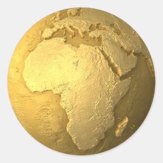 Gold Globe - Metal Earth, Africa, 3d Render Classic Round Sticker