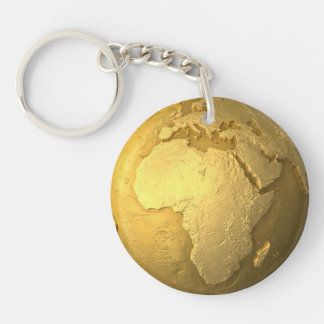 Gold Globe - Metal Earth, Africa, 3d Render Keychain