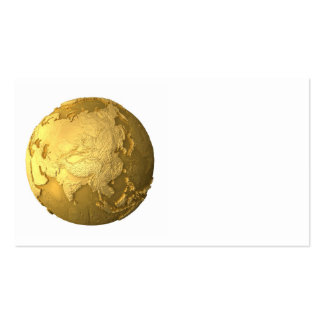 Gold Globe - Metal Earth, Asia, 3d Render Business Card