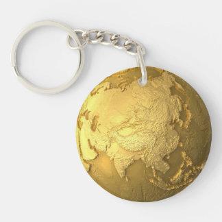 Gold Globe - Metal Earth, Asia, 3d Render Keychain