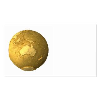 Gold Globe - Metal Earth, Australia, 3d Render Business Card
