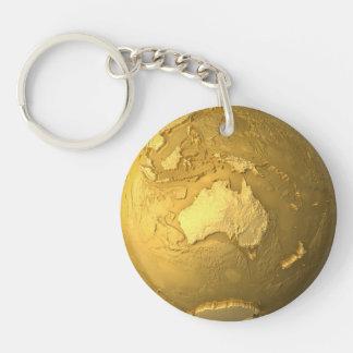 Gold Globe - Metal Earth, Australia, 3d Render Keychain