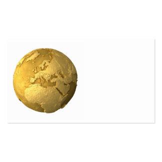 Gold Globe - Metal Earth. Europe, 3d Render Business Card