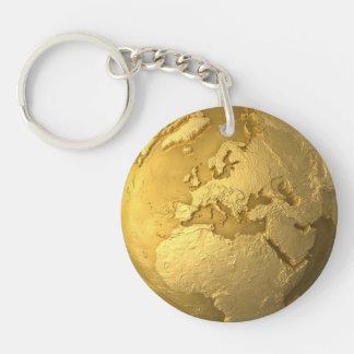 Gold Globe - Metal Earth. Europe, 3d Render Keychain