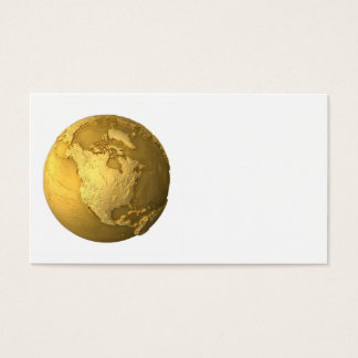 Gold Globe - Metal Earth. North America, 3d Render Business Card