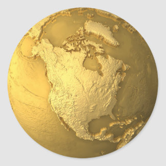 Gold Globe - Metal Earth. North America, 3d Render Classic Round Sticker