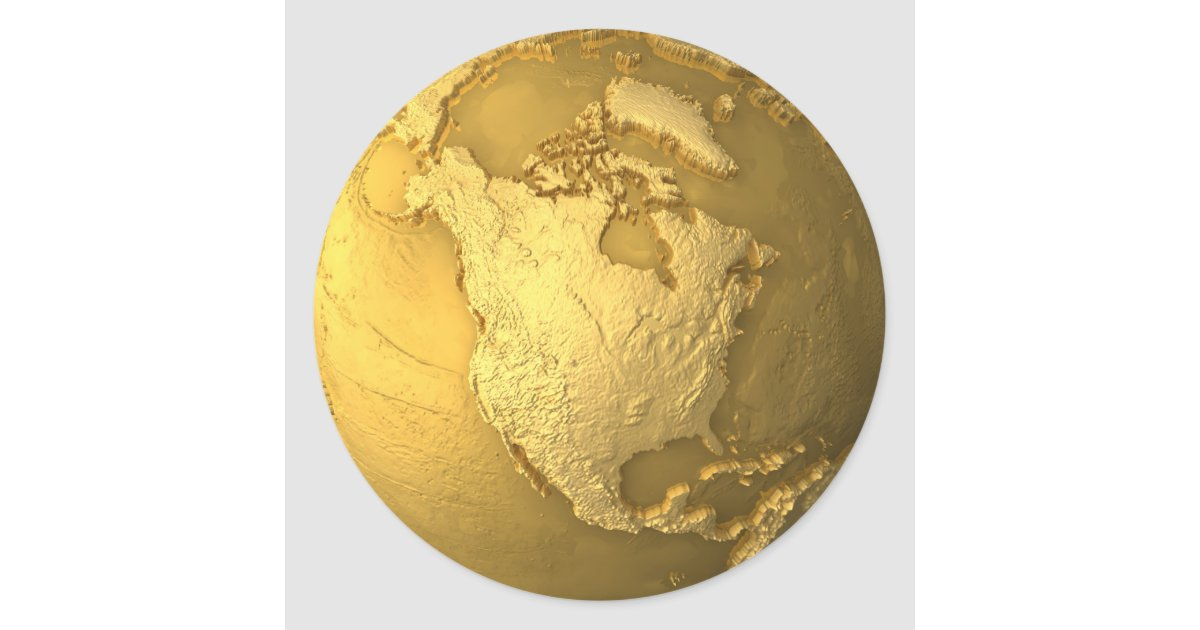 Gold Globe Metal Earth North America 3d Render Classic