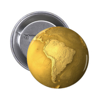 Gold Globe - Metal Earth. South America, 3d render 2 Inch Round Button