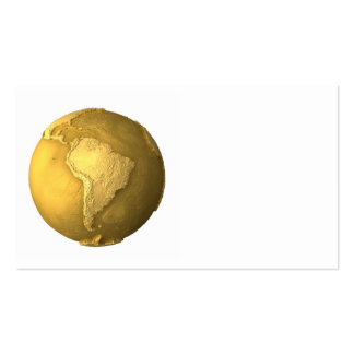 Gold Globe - Metal Earth. South America, 3d render Business Card