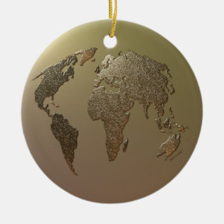 Gold Globe Double-Sided Ceramic Round Christmas Ornament