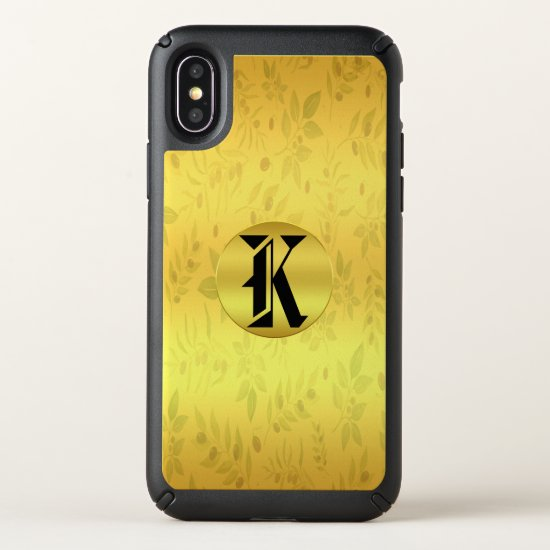 Gold Gloral iPhone X Case With Drop Protection