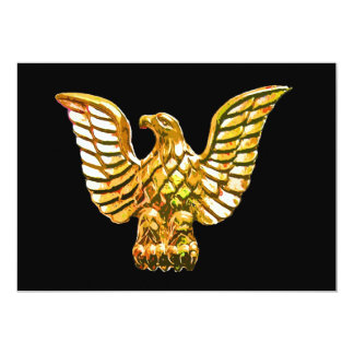 Gold, Golden Eagle on Black Background Card